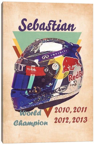 Sebastian Vettel's Helmet Retro Canvas Art Print
