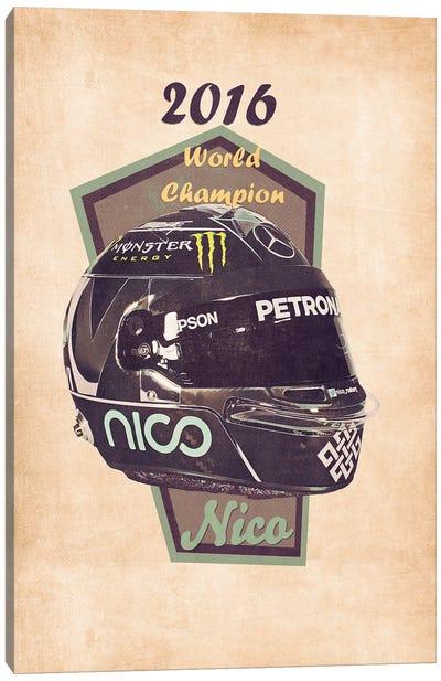 Nico Rosberg's Helmet Retro Canvas Art Print