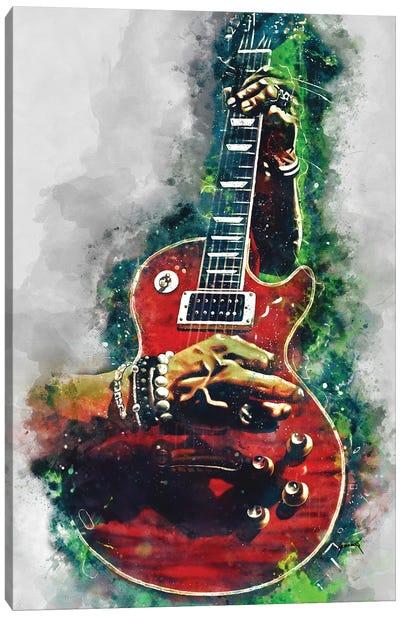 Slash Fire Red Guitar Canvas Art Print