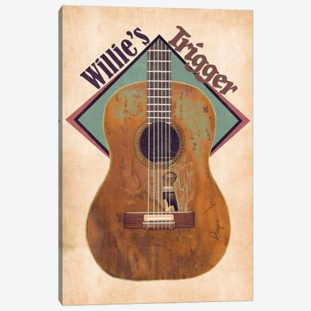Willie Nelson's Trigger Retro Canvas Print #PCP201} by Pop Cult Posters Canvas Art Print