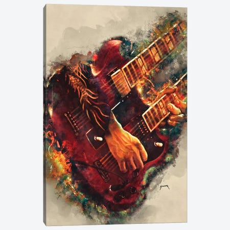 Jimmy Page's Electric Guitar Canvas Print #PCP28} by Pop Cult Posters Canvas Art Print