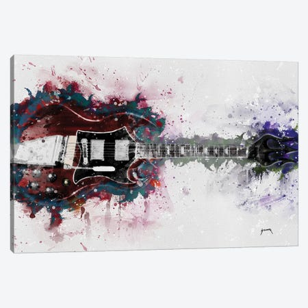 Angus Young's Guitar Caricature Canvas Print #PCP2} by Pop Cult Posters Canvas Art