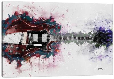 Angus Young's Guitar Caricature Canvas Art Print