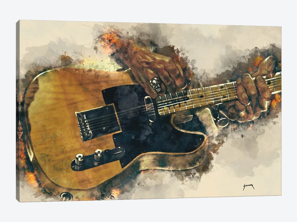Keith Richards's Electric Guitar by Pop Cult Posters 1-piece Canvas Wall Art
