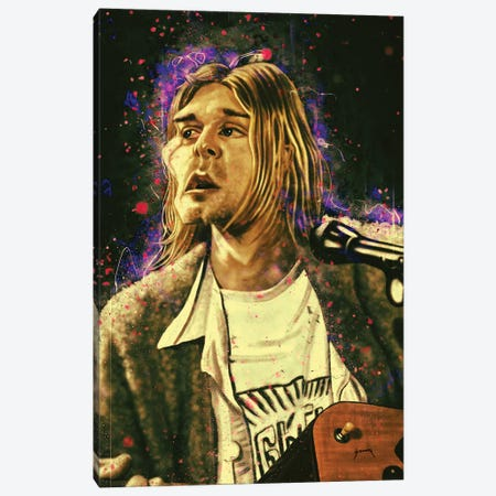 Kurt Cobain's Caricature Canvas Print #PCP37} by Pop Cult Posters Art Print