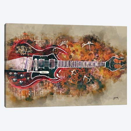 Angus Young's Steampunk Guitar Canvas Print #PCP3} by Pop Cult Posters Canvas Wall Art