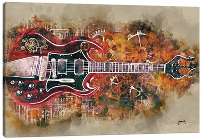 Angus Young's Steampunk Guitar Canvas Art Print