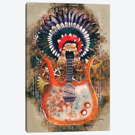 Link Wray's Steampunk Guitar Canvas Print #PCP40} by Pop Cult Posters Canvas Art Print