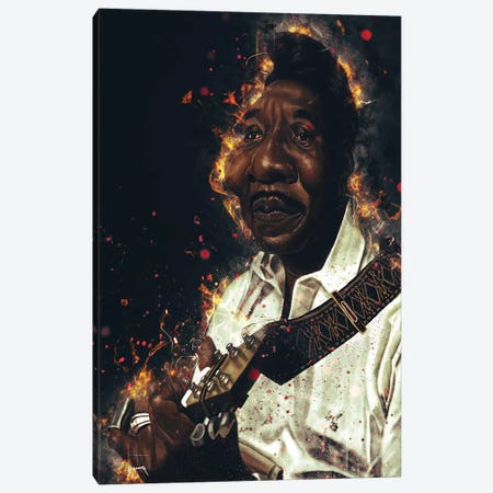 Muddy Waters's Caricature Canvas Print #PCP42} by Pop Cult Posters Art Print