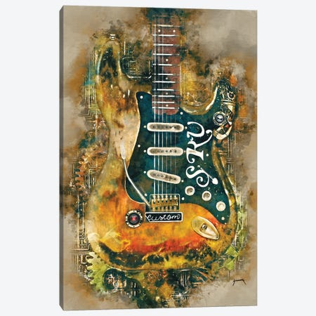 Stevie Ray's Steampunk Guitar Canvas Print #PCP52} by Pop Cult Posters Canvas Art