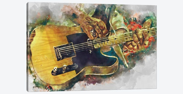 Keef's Electric Guitar Canvas Print #PCP62} by Pop Cult Posters Art Print