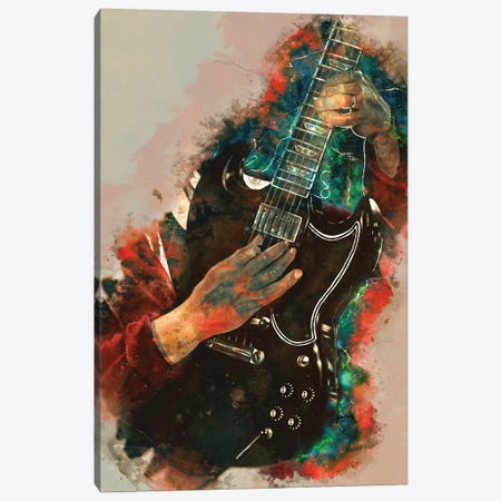 Angus Young Electric Guitar Canvas Print #PCP84} by Pop Cult Posters Canvas Artwork