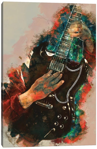 Angus Young Electric Guitar Canvas Art Print