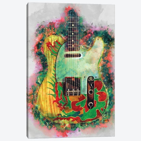 Jimmy Page Dragon Guitar Canvas Print #PCP97} by Pop Cult Posters Canvas Art Print