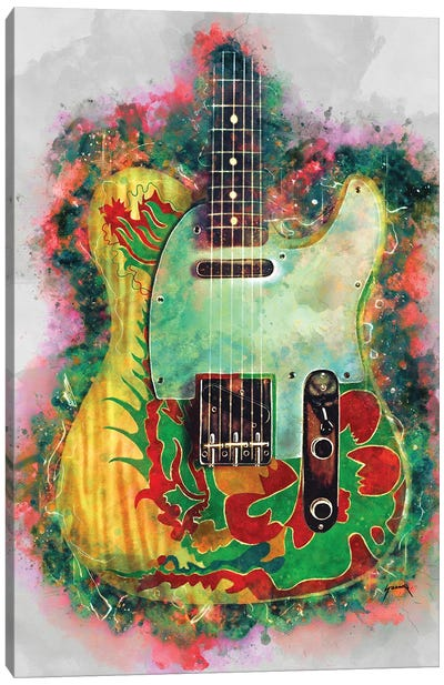 Jimmy Page Dragon Guitar Canvas Art Print