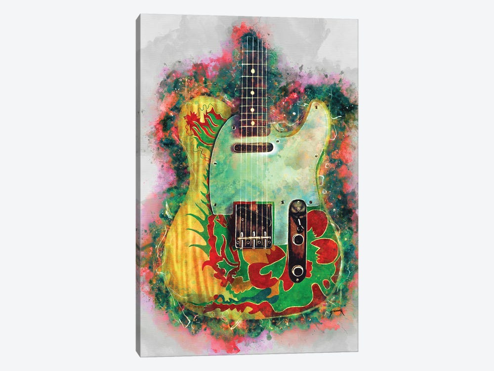 Jimmy Page Dragon Guitar by Pop Cult Posters 1-piece Canvas Art Print