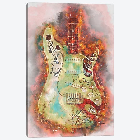 Hendrix's Monterey Guitar Canvas Print #PCP98} by Pop Cult Posters Canvas Wall Art