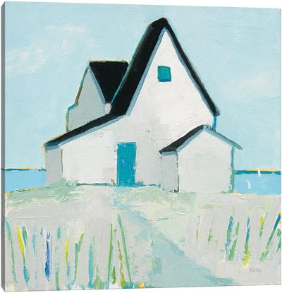 Cottage by the Sea Neutral Canvas Art Print