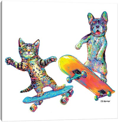 Couple Skateboards Canvas Art Print