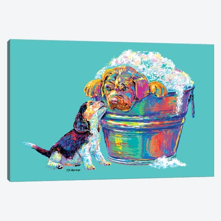 Couple Tub In Aqua Canvas Print #PDM108} by P.D. Moreno Canvas Wall Art