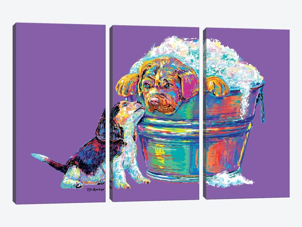 Couple Tub In Purple by P.D. Moreno 3-piece Canvas Art