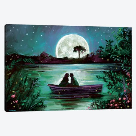 Love In Boat Canvas Print #PDM114} by P.D. Moreno Canvas Wall Art