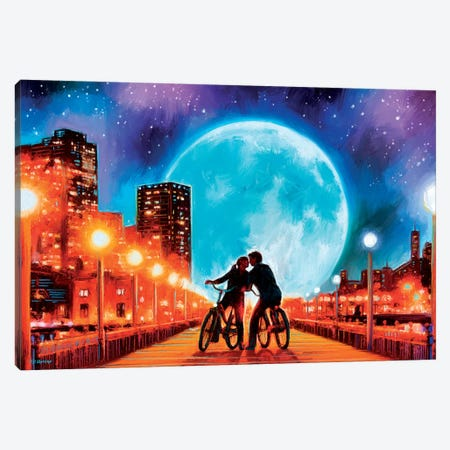 Moon Bycicle Canvas Print #PDM115} by P.D. Moreno Canvas Artwork