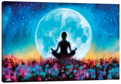 Moon Yoga Canvas Art Print
