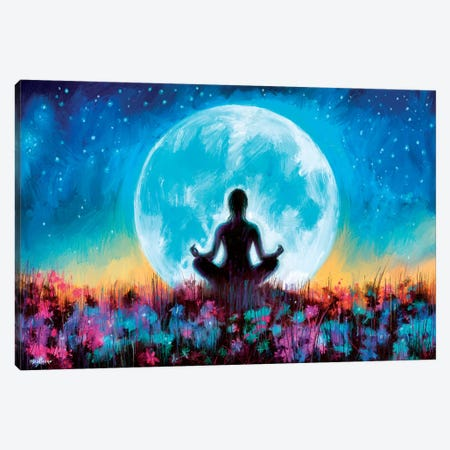 Moon Yoga Canvas Print #PDM116} by P.D. Moreno Canvas Art