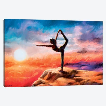 Mountain Yoga Canvas Print #PDM117} by P.D. Moreno Canvas Artwork