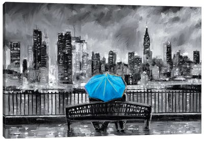 NY In Love In Blue Canvas Art Print