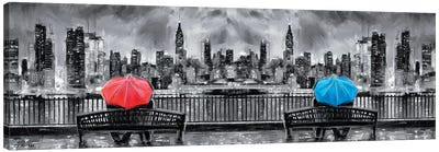NY In Love In Black & White In Panoramic Canvas Art Print