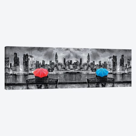 NY In Love In Black & White In Panoramic Canvas Print #PDM119} by P.D. Moreno Canvas Art Print