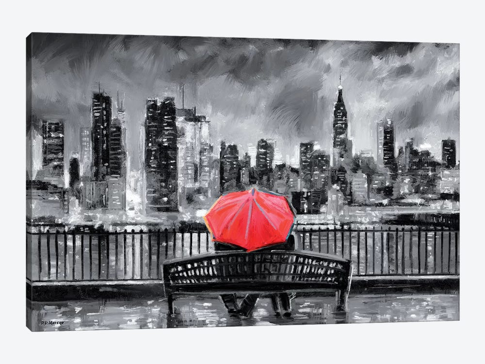 NY In Love In Red by P.D. Moreno 1-piece Canvas Artwork