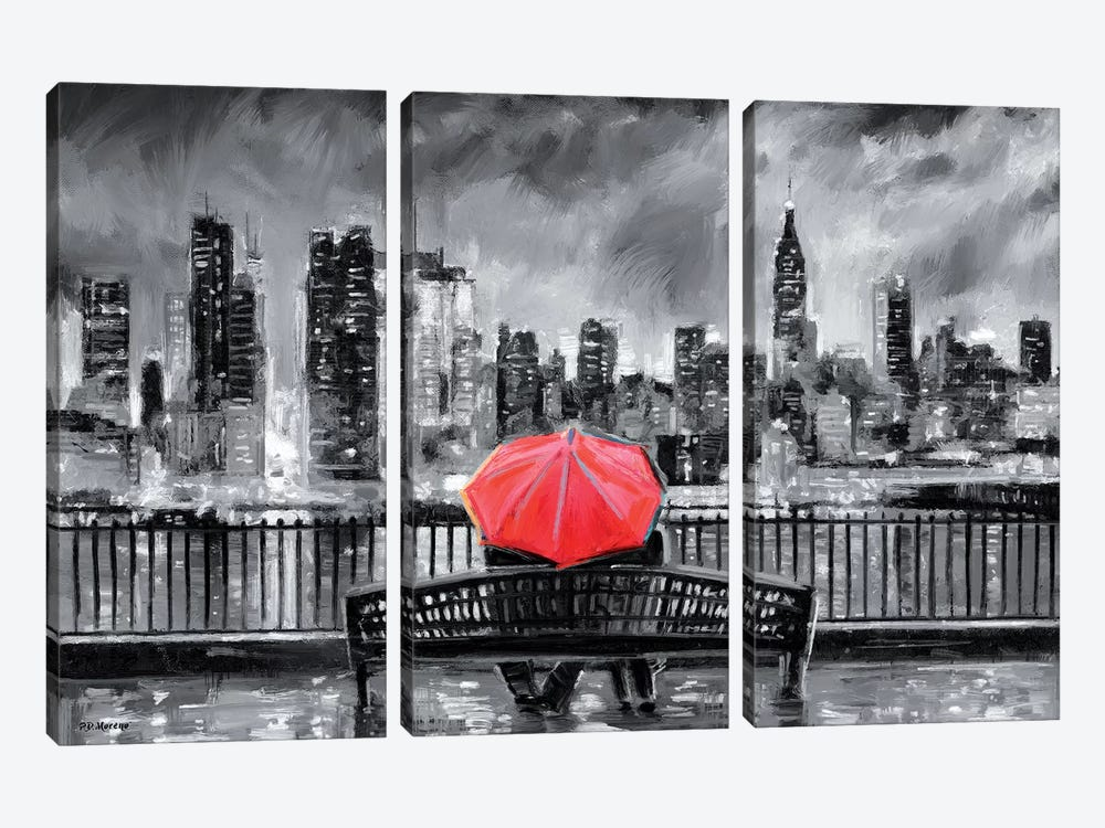 NY In Love In Red by P.D. Moreno 3-piece Canvas Art
