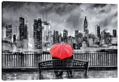 NY In Love In Red Canvas Art Print