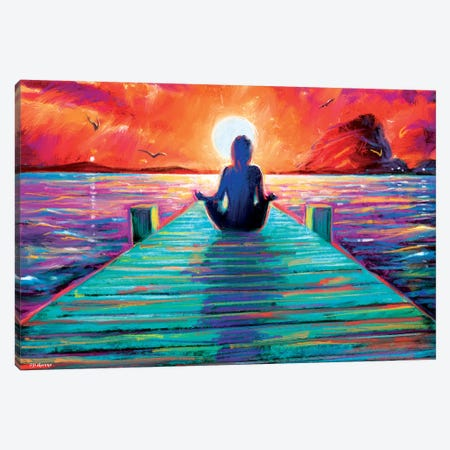 Sea Yoga Canvas Print #PDM125} by P.D. Moreno Canvas Art Print