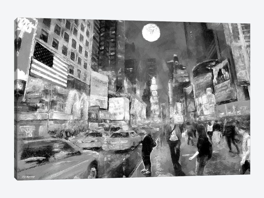 Times Square In Black & White by P.D. Moreno 1-piece Canvas Print