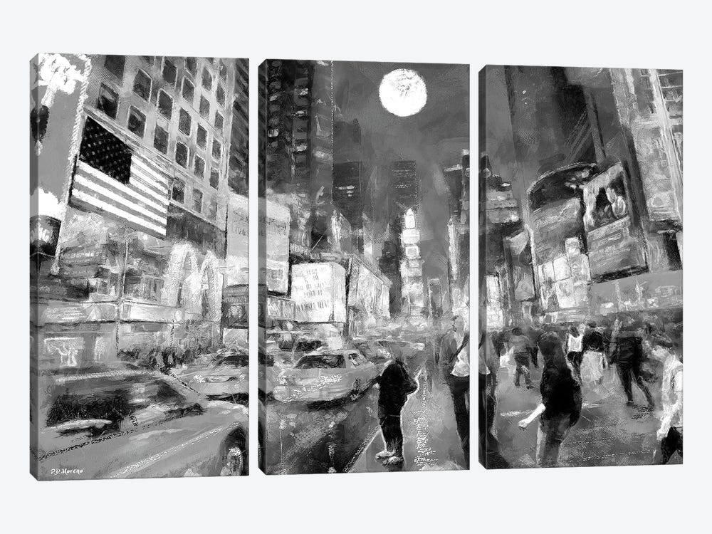 Times Square In Black & White by P.D. Moreno 3-piece Canvas Art Print