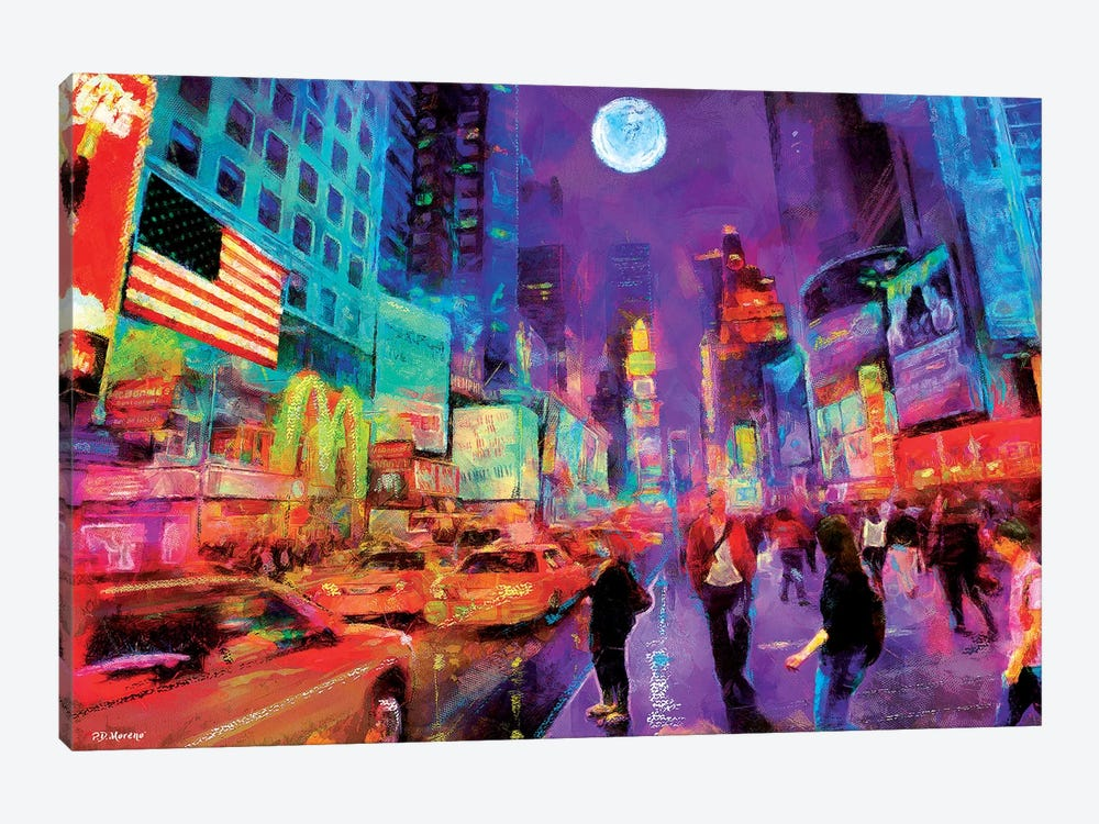 Times Square In Color by P.D. Moreno 1-piece Canvas Artwork