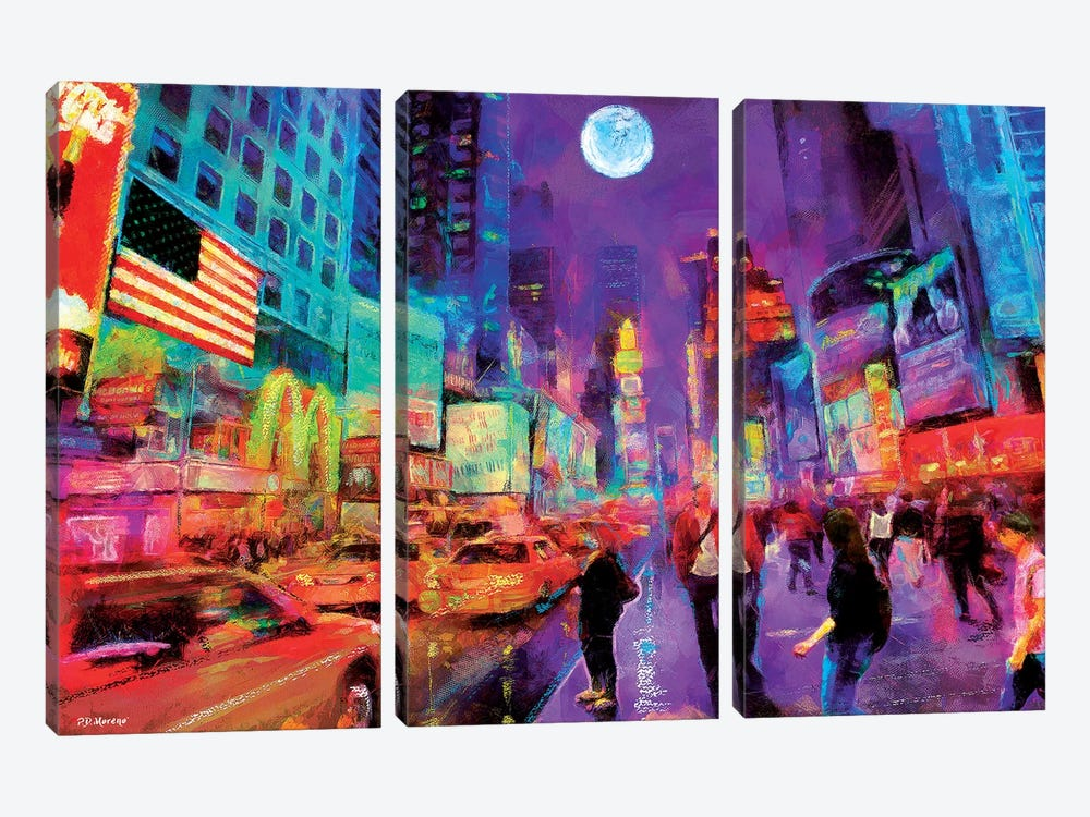 Times Square In Color by P.D. Moreno 3-piece Canvas Art