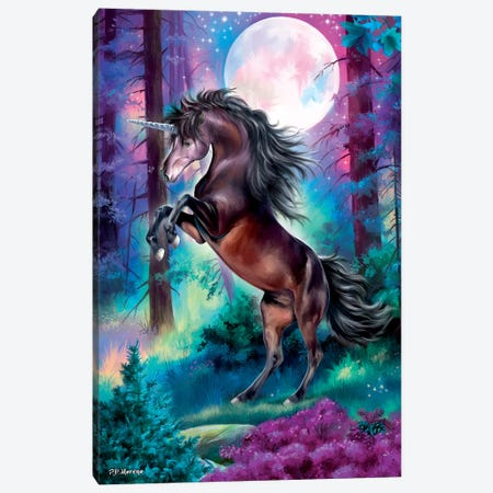 Black Unicorn Canvas Print #PDM129} by P.D. Moreno Canvas Artwork