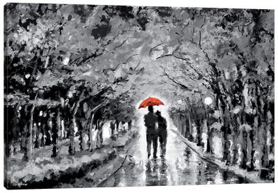 Park In Love Red Umbrella Canvas Art Print