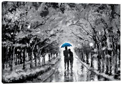Park In Love Blue Umbrella Canvas Art Print