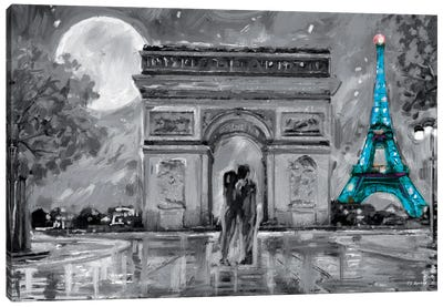 Paris In Love Blue Eiffel Tower Canvas Art Print