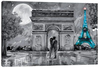 Paris In Love Blue Eiffel Tower Canvas Art Print