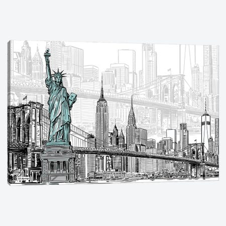 New York Sketches Canvas Print #PDM134} by P.D. Moreno Canvas Artwork