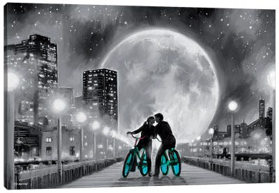 Moon Bicycle Canvas Art Print