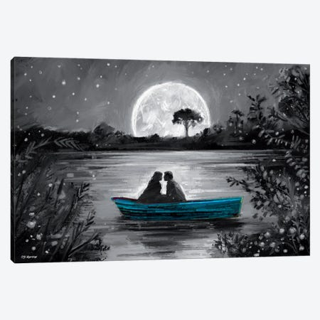 Love In Boat Blue Canvas Print #PDM141} by P.D. Moreno Canvas Wall Art