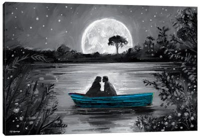 Love In Boat Blue Canvas Art Print